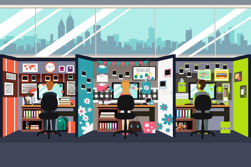 Business People Working in Office Cubicles Illustration vector illustration