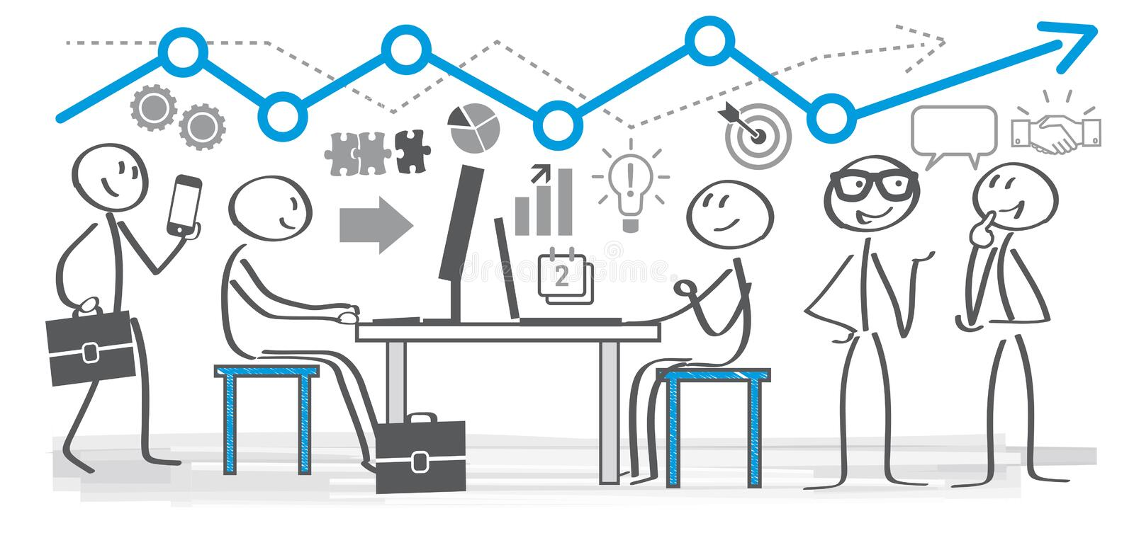 Business People Working In a office. Vector illustration of business planning concept. Colleagues in a office working together vector illustration