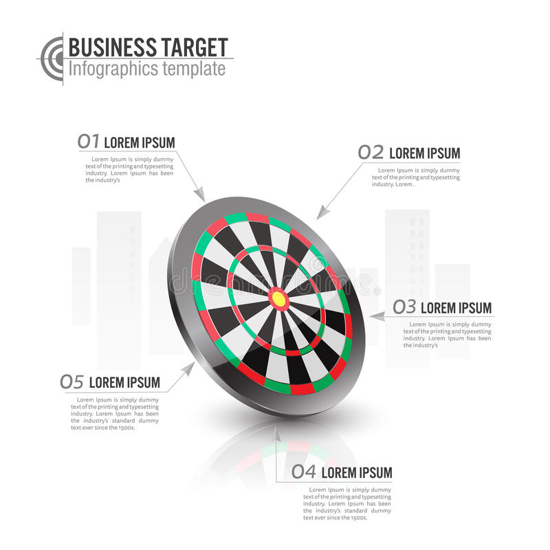 vector illustration of Business target marketing concept.archery target Infographics template. stock illustration