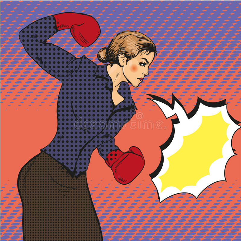 Vector illustration of business woman boxing in pop art style. Vector illustration of strong business woman boxing in retro comic pop art style. Speech bubble stock illustration