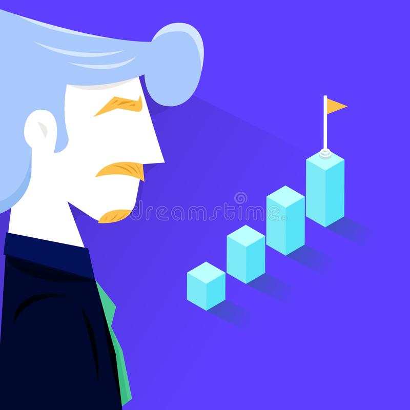Vector illustration - businessman Bar chart, diagram, investment in modern technology, money management accounting. successful royalty free illustration