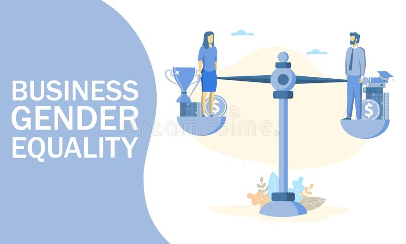 Business gender equality vector concept web banner, website page. Vector illustration of businessman and businesswoman balancing on scales on the same height stock illustration