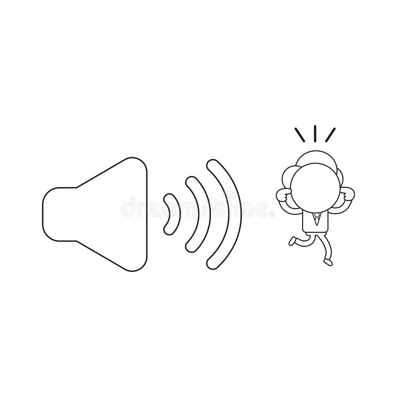 Vector illustration of businessman character closed ears and run. Vector illustration concept of businessman character closed ears and running away from sound vector illustration