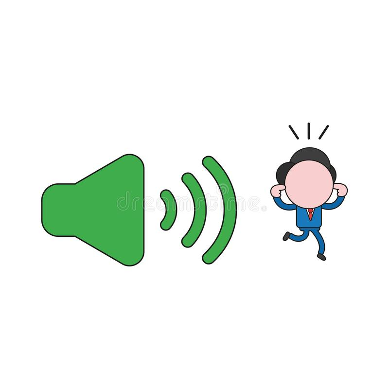 Vector illustration of businessman character closed ears and run. Vector illustration concept of businessman character closed ears and running away from sound royalty free illustration