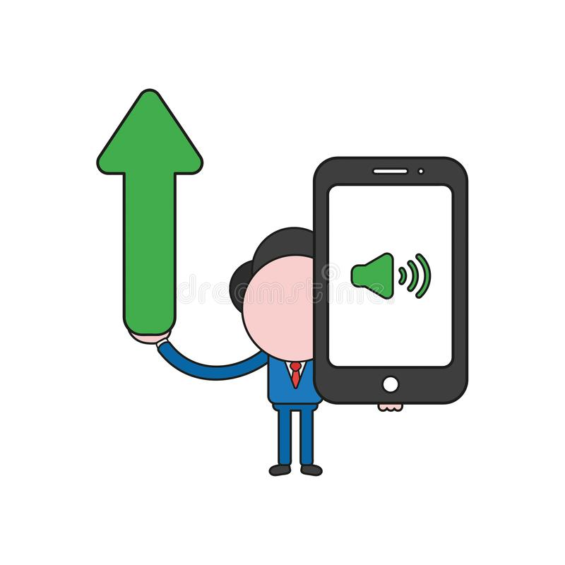Vector businessman character holding arrow moving up and smartphone with sound on icon. Color and black outlines. Vector illustration businessman character vector illustration