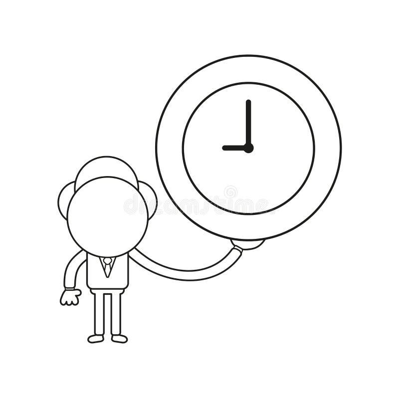 Vector illustration of businessman character holding clock. Black outline. Vector illustration concept of businessman character holding clock. Black outline vector illustration