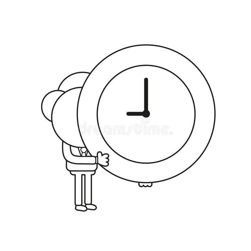 Vector illustration of businessman character holding clock. Black outline. Vector illustration concept of businessman character holding clock. Black outline royalty free illustration