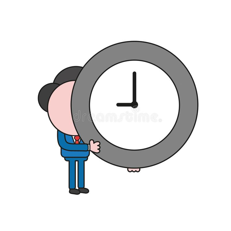 Vector illustration of businessman character holding clock. Color and black outlines. Vector illustration concept of businessman character holding clock. Color royalty free illustration