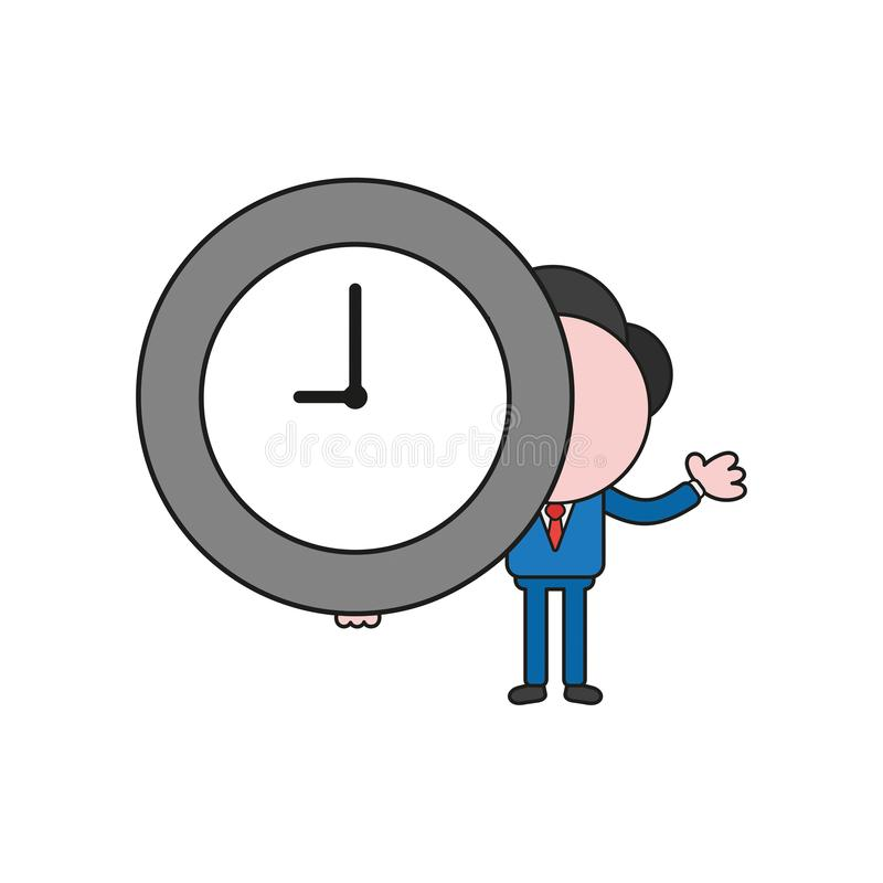 Vector businessman character holding clock time. Color and black outlines. Vector illustration businessman character holding clock time. Color and black outlines vector illustration