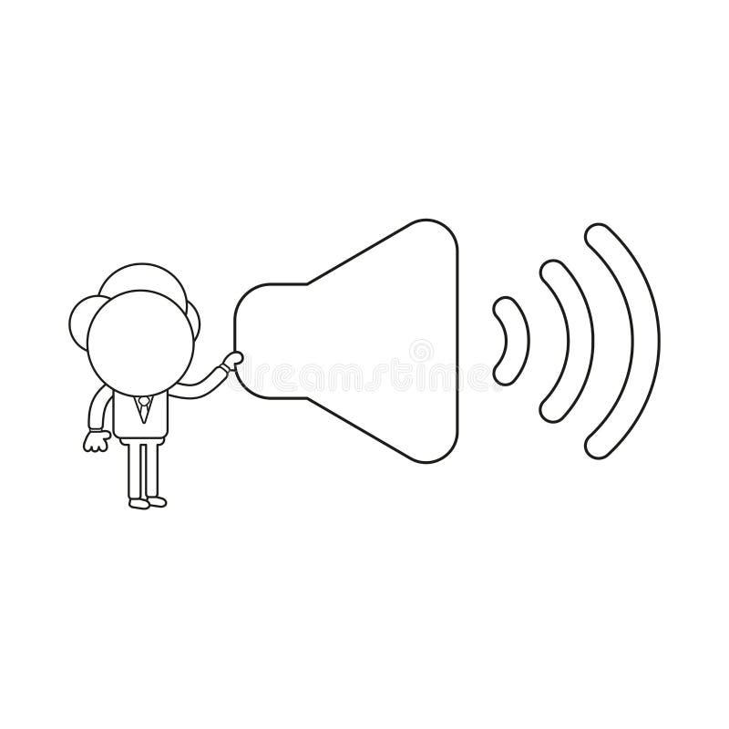 Vector illustration of businessman character holding sound on symbol. Black outline. Vector illustration concept of businessman character holding sound on symbol stock illustration