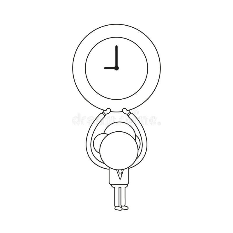Vector illustration of businessman character holding up clock. Black outline. Vector illustration concept of businessman character holding up clock. Black royalty free illustration