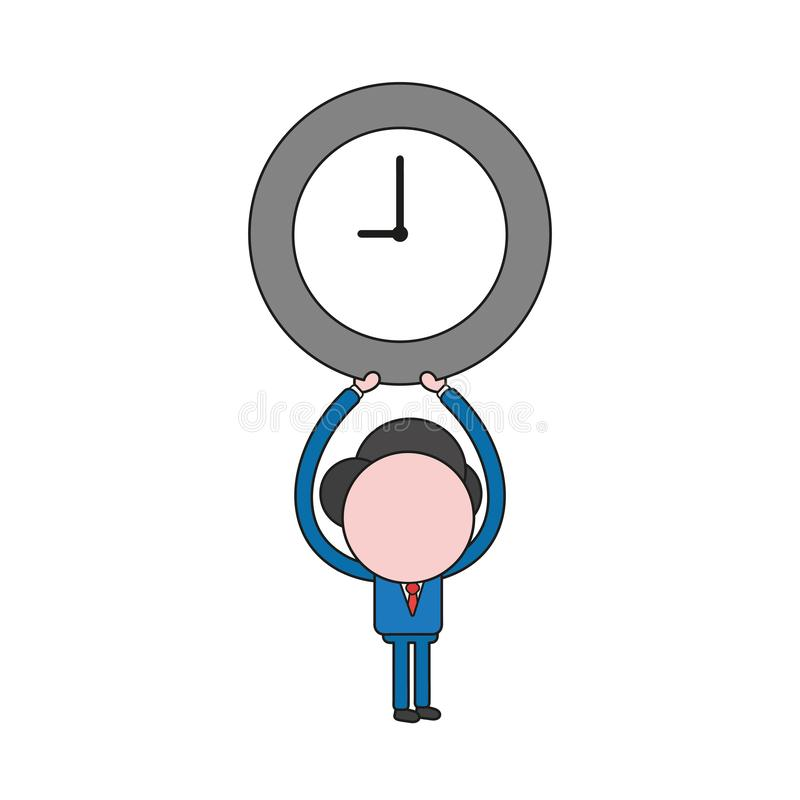 Vector illustration of businessman character holding up clock. Color and black outlines. Vector illustration concept of businessman character holding up clock vector illustration