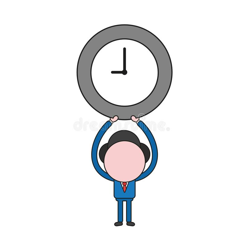 Vector illustration of businessman character holding up clock. Color and black outlines. Vector illustration concept of businessman character holding up clock royalty free illustration