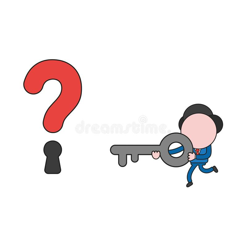 Vector illustration of businessman character running and carrying key to question mark keyhole. Color and black outlines. stock illustration