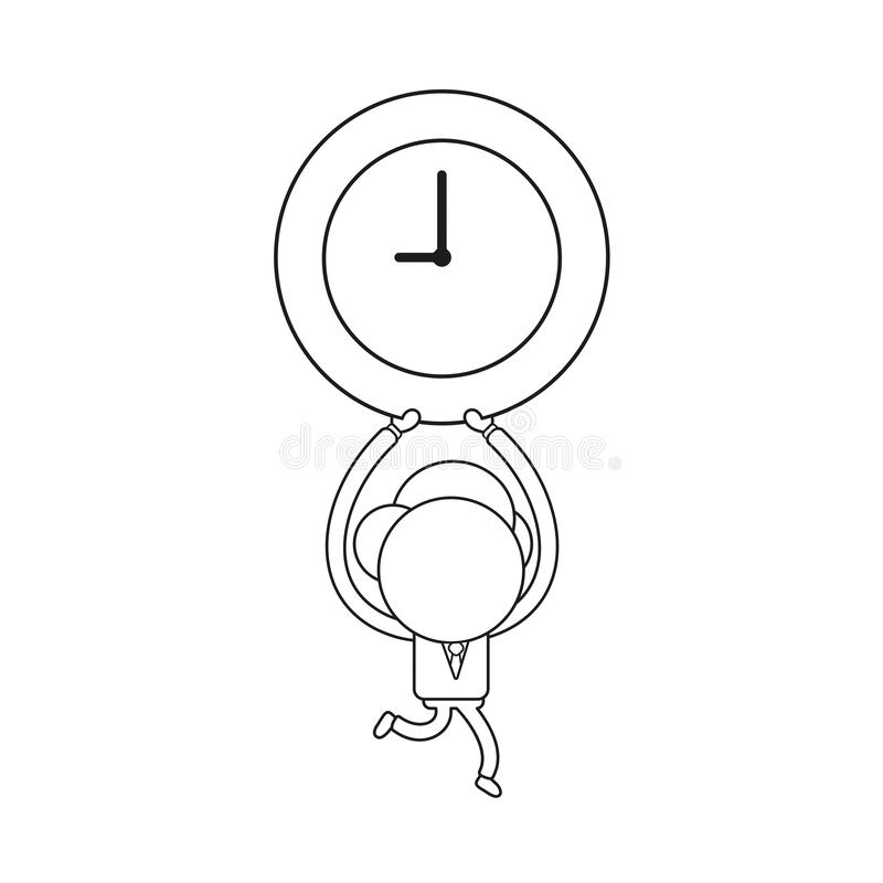 Vector illustration of businessman character running and carrying clock. Black outline. Vector illustration concept of businessman character running and carrying royalty free illustration