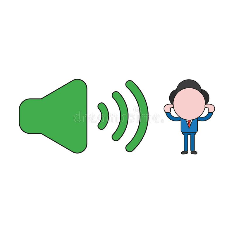 Vector illustration of businessman character with sound on symbol and closing ears. Color and black outlines. Vector illustration concept of businessman stock illustration