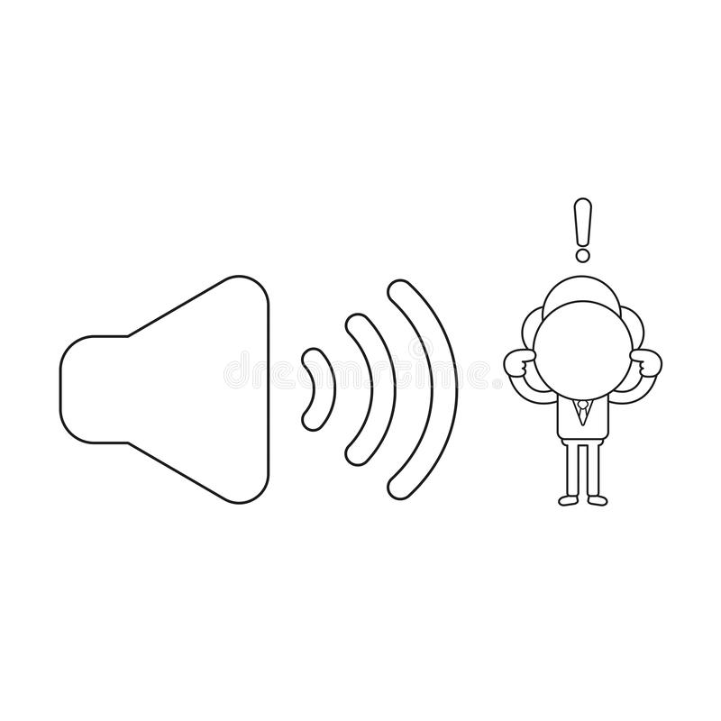 Vector illustration of businessman character with sound symbol and closing ears. Black outline. Vector illustration concept of businessman character with sound stock illustration