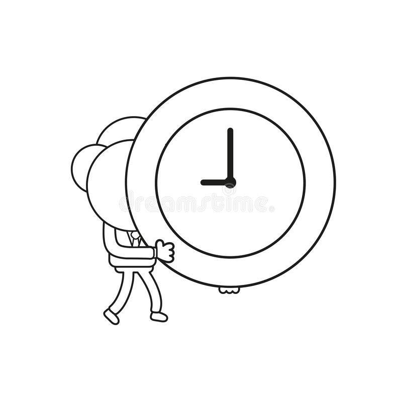 Vector businessman character walking and holding clock time. Black outline. Vector illustration businessman character walking and holding clock time. Black stock illustration