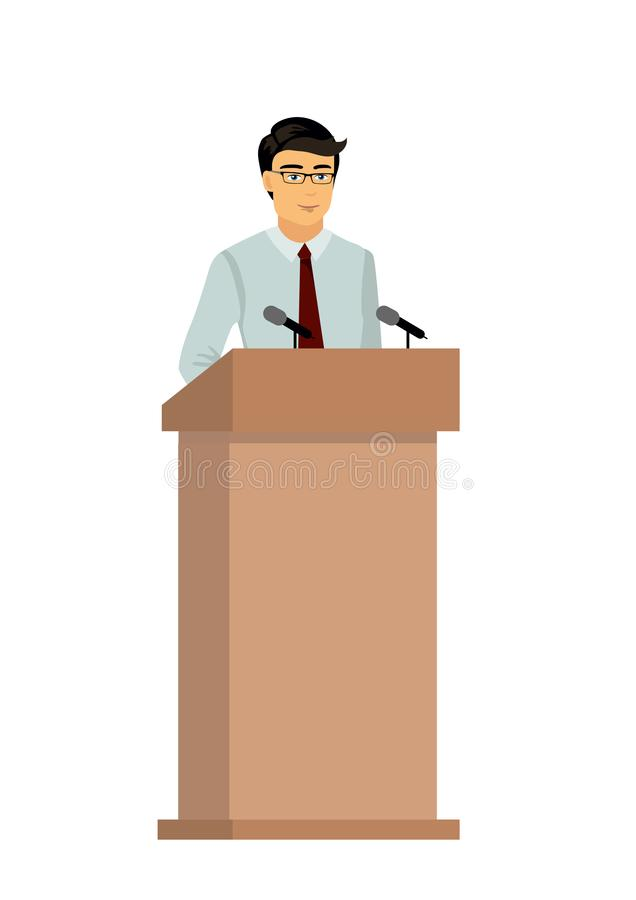 Vector Illustration of businessman orator speaking from tribune, man is giving an interview on public, speaker character. In flat style vector illustration