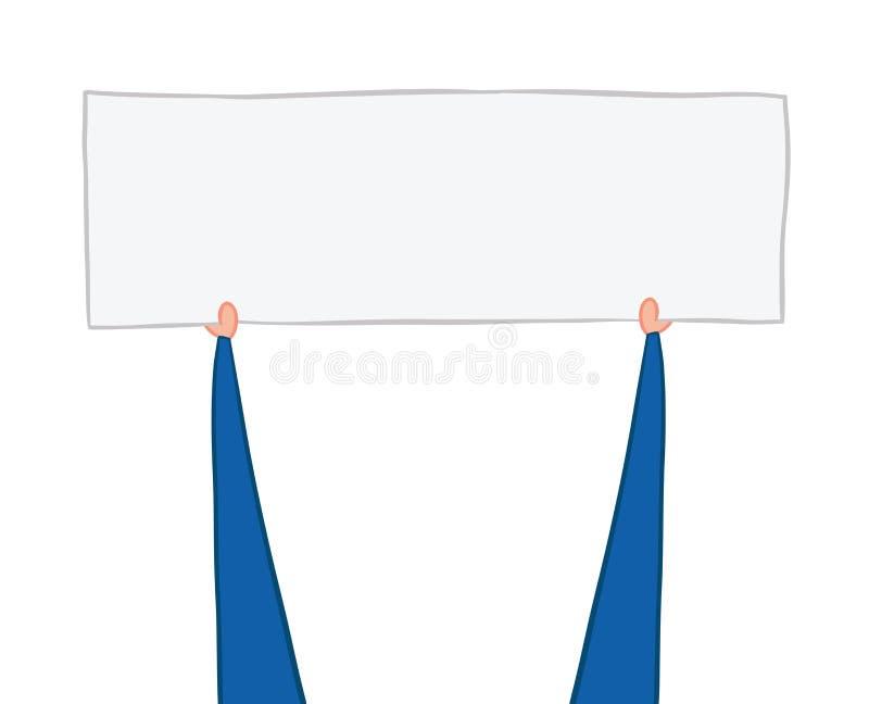 Vector illustration businessman showing up blank banner vector illustration