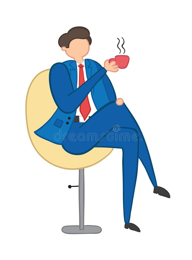 Vector illustration businessman sitting on office chair and drinking coffee or tea. Hand drawn vector illustration