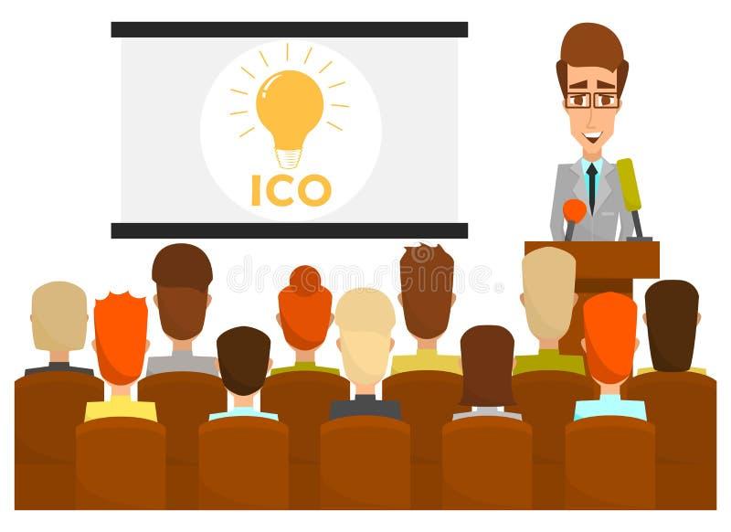 Ico business presentation concept vector flat illustration vector illustration