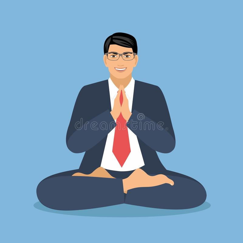 Vector illustration businessman in a suit sits in a lotus position and meditates.  stock illustration