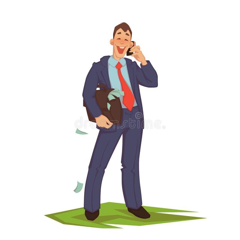 Vector illustration of businessman talking phone vector illustration
