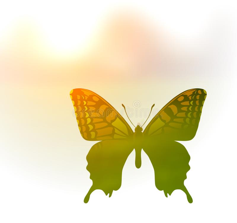 Vector illustration of a butterfly in the style of double exposure. Greetings to spring or summer vector illustration