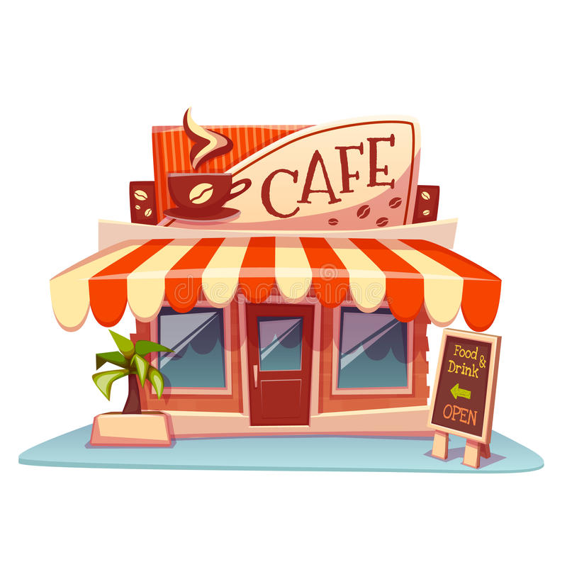 Vector illustration of cafe building with bright stock photos