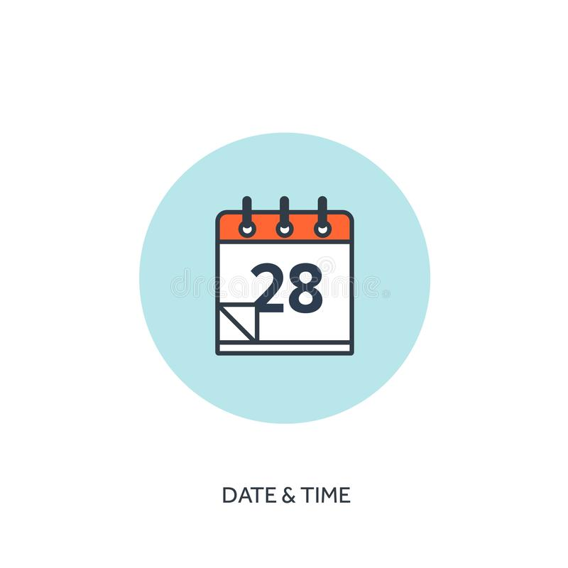 Vector illustration. Calendar lined icon.Date time. Holiday planning. stock illustration