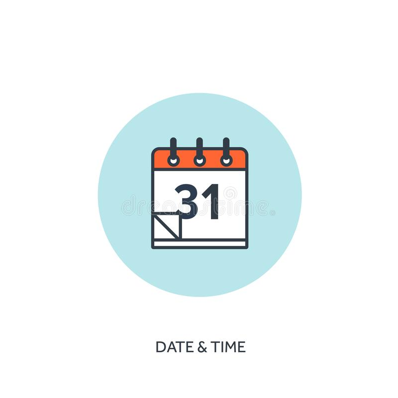 Vector illustration. Calendar lined icon.Date time. Holiday planning. royalty free illustration