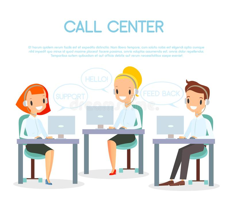 Vector illustration of call center operators. Customer service and online support concept. Call center representative at stock illustration