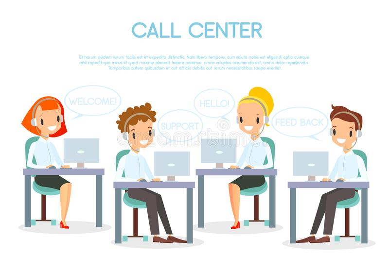 Vector illustration of call center operators in office working with laptops and in headphones. Smiling and happy call stock illustration