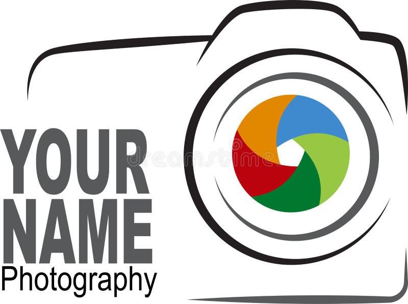 Camera logo - colorful illustration. Vector illustration of camera with colorful shutter logo on white background royalty free illustration