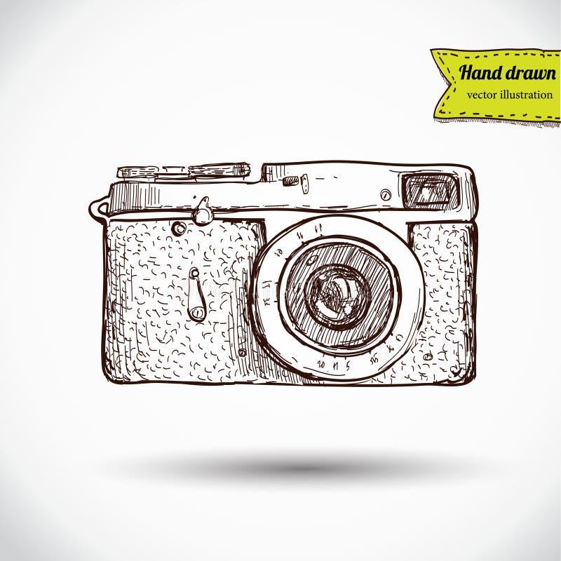 Vector illustration of camera hand draw. On vintage paper background, cute label stock illustration