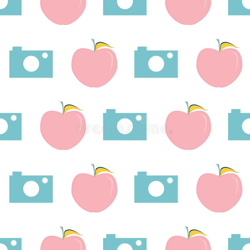 Vector illustration of school supplies. Vector illustration of cameras and apples on white background. Seamless pattern for back to school supplies, textile vector illustration