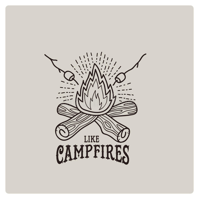 Vector illustration of the campfire logo royalty free stock image