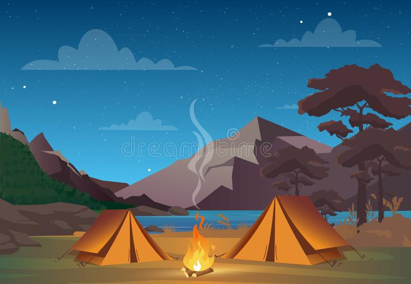 Vector illustration of camping in night time with beautiful view on mountains. Family camping evening time. Tent, fire royalty free illustration