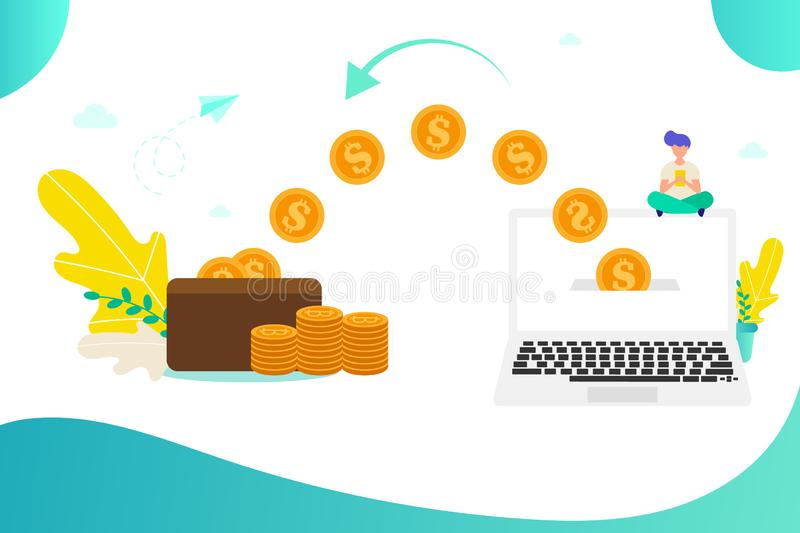 Man works online, concept of earning money online royalty free stock image