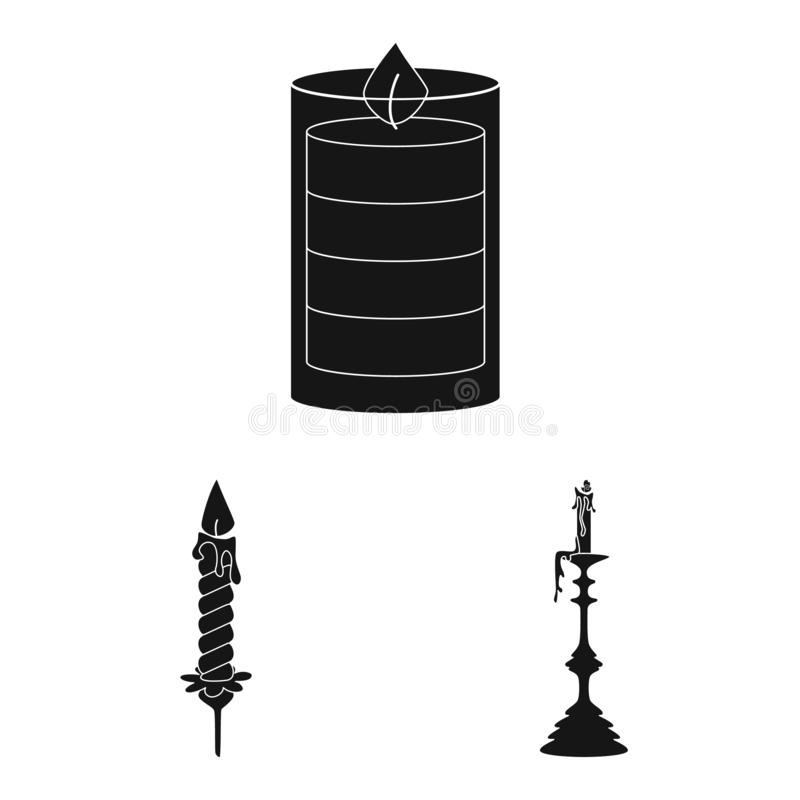 Vector illustration of candlelight and decoration icon. Set of candlelight and wax stock vector illustration. Isolated object of candlelight and decoration vector illustration