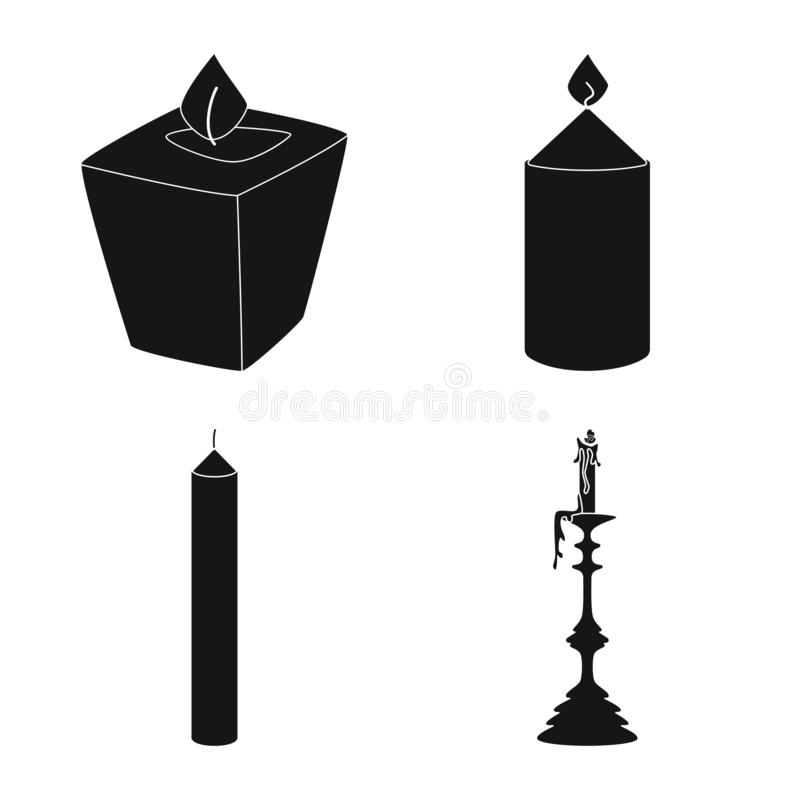 Vector illustration of candlelight and decoration logo. Collection of candlelight and wax vector icon for stock. Isolated object of candlelight and decoration royalty free illustration