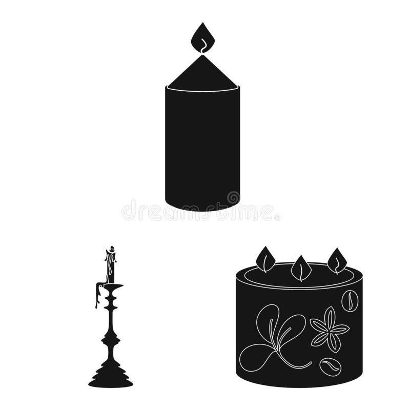 Vector illustration of candlelight and decoration logo. Set of candlelight and wax stock symbol for web. Isolated object of candlelight and decoration icon vector illustration