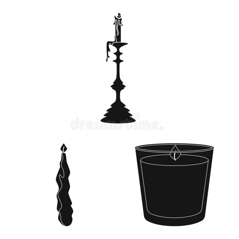 Vector design of candlelight and decoration sign. Collection of candlelight and wax vector icon for stock. Vector illustration of candlelight and decoration royalty free illustration