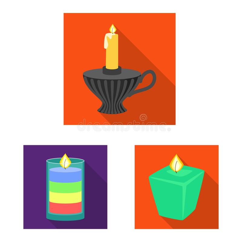 Vector design of candlelight and decoration symbol. Collection of candlelight and flame stock symbol for web. Vector illustration of candlelight and decoration royalty free illustration