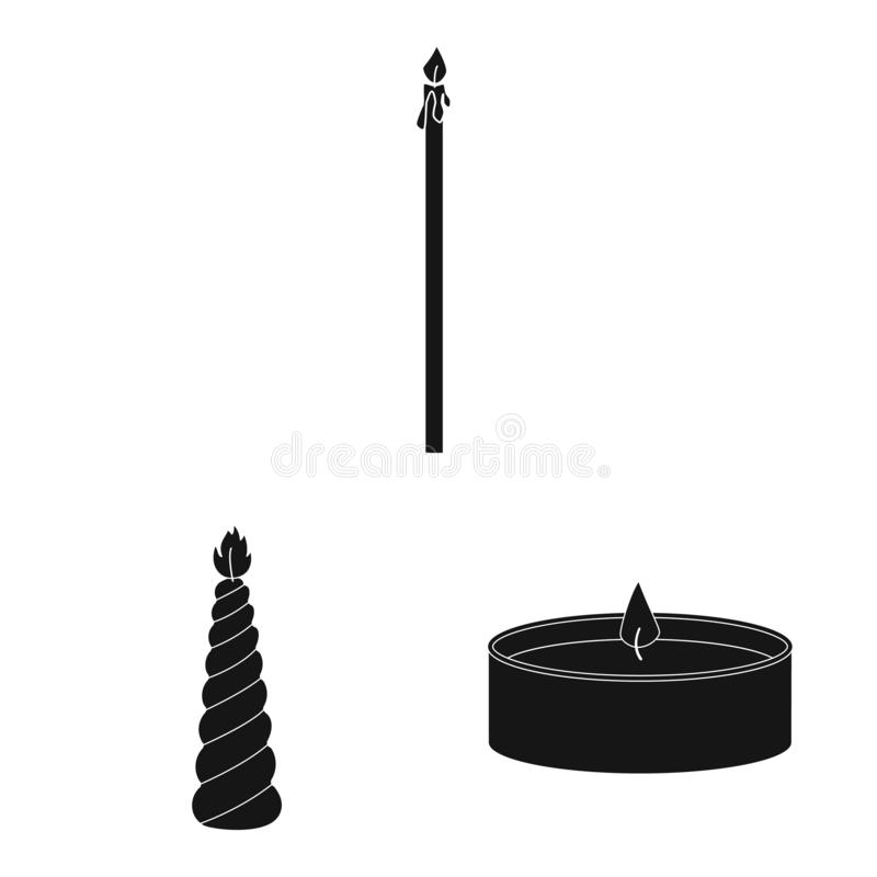 Vector illustration of candlelight and decoration symbol. Collection of candlelight and wax vector icon for stock. Isolated object of candlelight and decoration stock illustration
