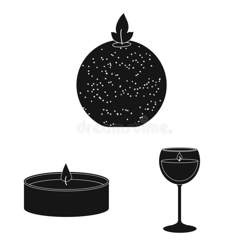 Vector illustration of candlelight and decoration symbol. Set of candlelight and wax vector icon for stock. Isolated object of candlelight and decoration sign stock illustration