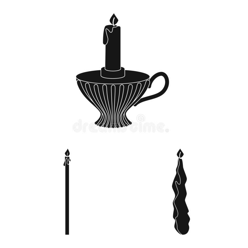 Vector illustration of candlelight and decoration symbol. Set of candlelight and wax vector icon for stock. Isolated object of candlelight and decoration sign royalty free illustration