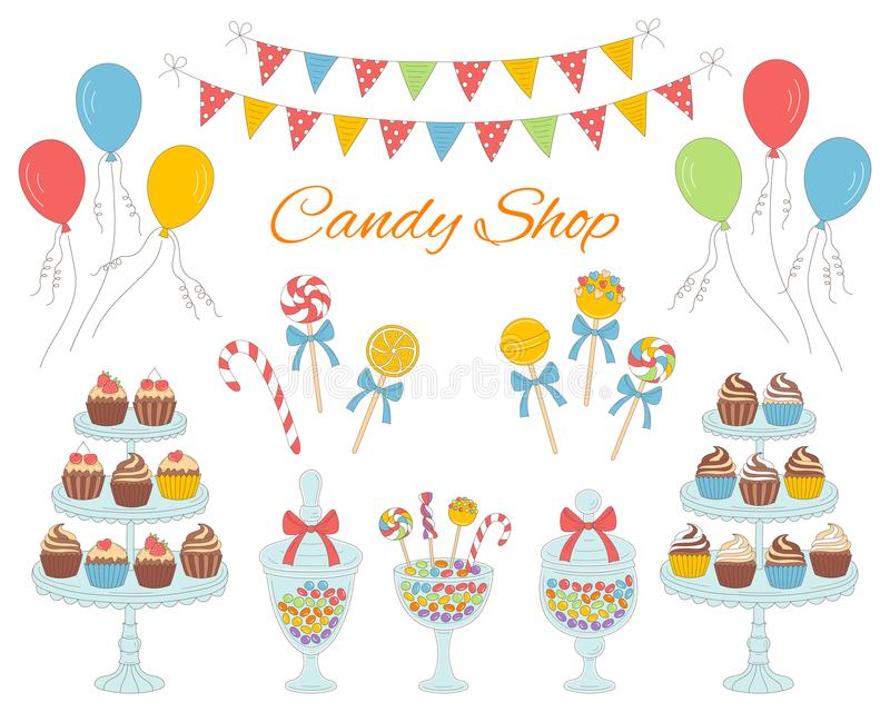 Vector illustration of candy shop, hand drawn doodle style. Vector illustration of candy shop with colorful sweets, candies in glass jars, lollipops, sweetmeats vector illustration