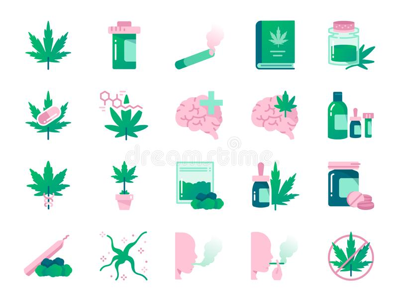 Cannabidiol colors icon set. Included icons as CBD, Cannabis, treatment, weed, tobacco and more. vector illustration